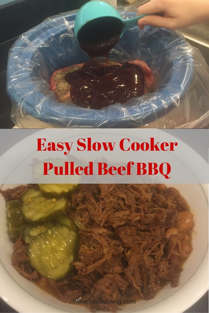 Easy slow cooker pulled beef barbque